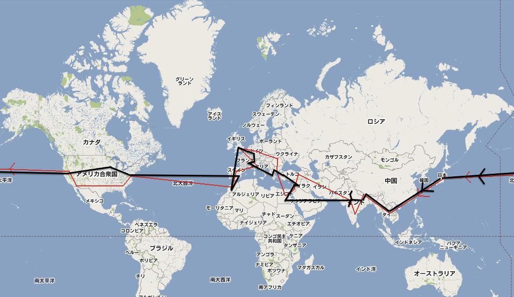 世界一周のルート